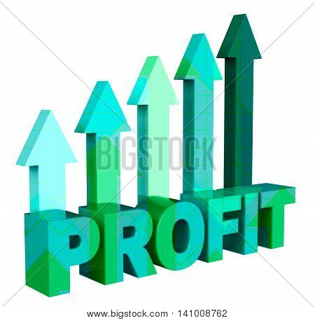 Profit Arrows Shows Earn Investment And Profitable 3D Rendering