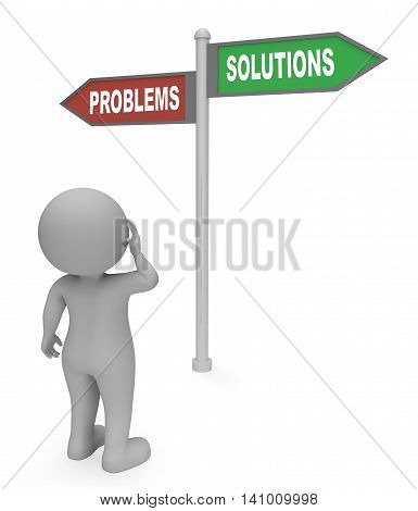 Problems Solutions Sign Means Difficult Situation And Complication 3D Rendering