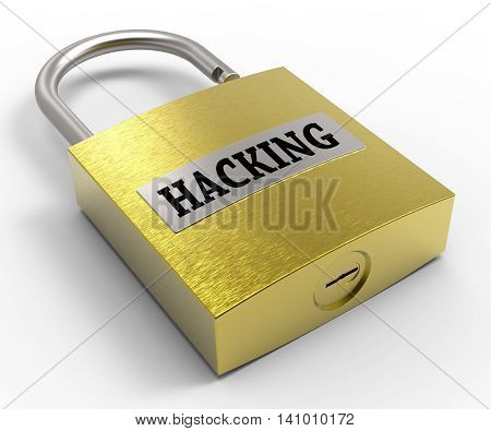 Hacking Padlock Showing Vulnerable Hacked And Protected 3d Rendering poster