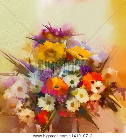 Oil painting flowers in vase. Hand paint still life bouquet of White, Yellow and Orange Sunflower, Gerbera, Daisy flowers. Vintage flowers painting in soft color and blur style background.