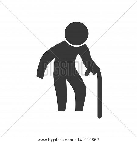 grandfather old pictogram action male man silhouette icon. Isolated and flat illustration. Vector graphic