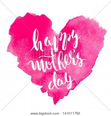 Happy mother's day. Colored watercolor background. Hand paintings. Red art blank