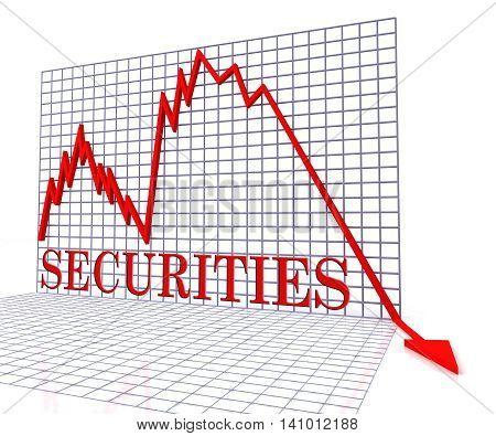 Securities Graph Negative Indicates Debentures Chart And Exchange 3D Rendering