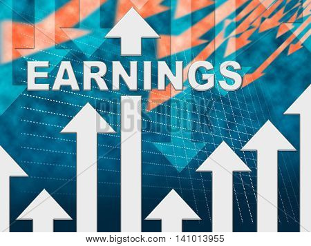 Earnings Graph Indicating Earns Chart And Wage poster