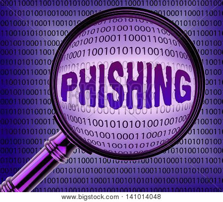 Computer Phishing Means Magnifier Magnifying And Internet