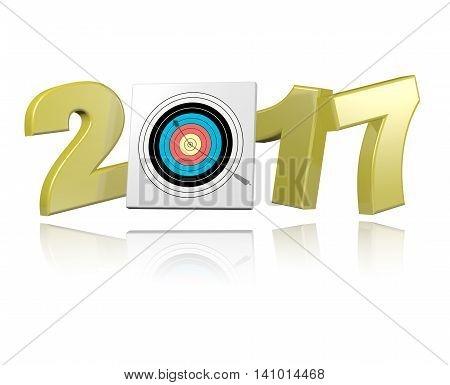 Archery 2017 3D illustration design with a white Background