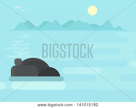 Early morning on a misty lake in Scandinavia sunrise seascape flat vector illustration