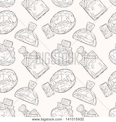 Perfumery. Beautiful vials. Seamless vector pattern (background).