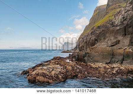 Far Oer Danmark Vestmanna Cliffs Panorama View