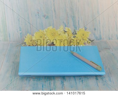 Closeup of a personal agenda setting on wood