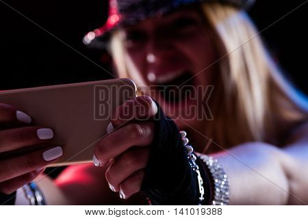 Girl Enjoying Music Online As She Was There