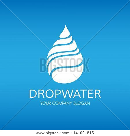 Water drop logo. Vector icon sihouette template.