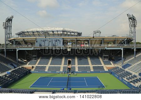 NEW YORK - AUGUST 24, 2015: Grandstand Stadium at the Billie Jean King National Tennis Center ready for US Open tournament in Flushing, NY