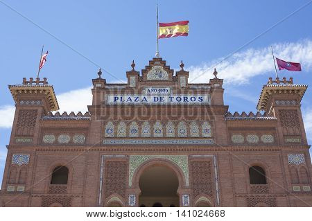 Madrid Spain July 12 2016: Bullring of Las Ventas. Main entrance