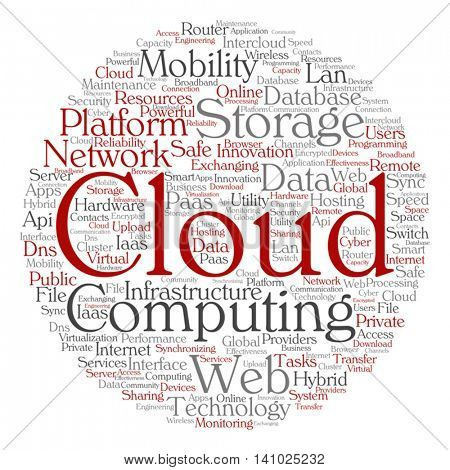 Vector concept conceptual web cloud computing technology abstract round wordcloud isolated on background