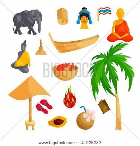 Thailand icons set in cartoon style. Thailand elements set collection vector illustration