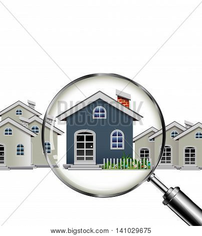 magnifying glass and your dream house cartoon