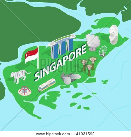 Singapore map in isometric 3d style. Symbols of Singapore set collection vector illustration