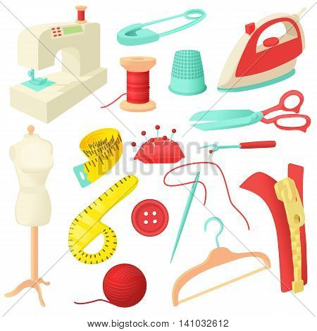 Tailoring icons set in cartoon style. Sewing and needlework set collection vector illustration poster