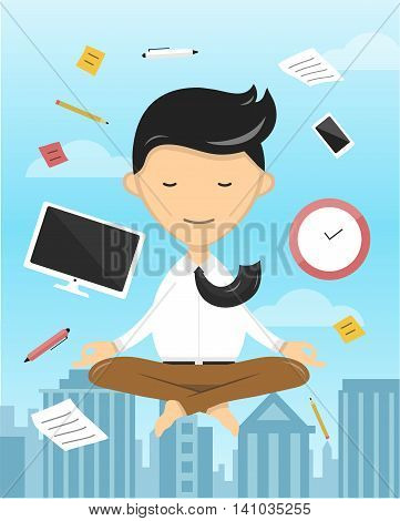 businessman in lotus position yoga relaxation illustration