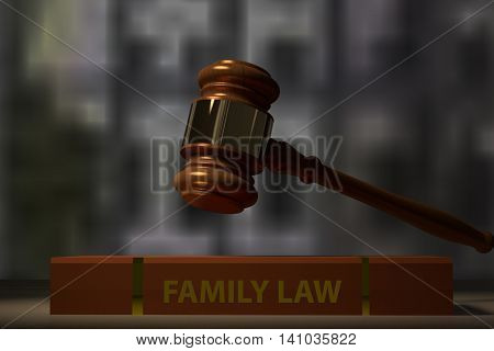 3D rendering of a judge hammer and a family law book on a table
