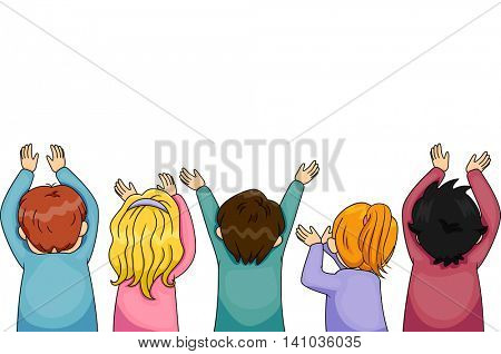 Border Illustration of Children with Arms Outstretched