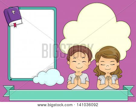 Frame Illustration of Children Kneeling While Praying