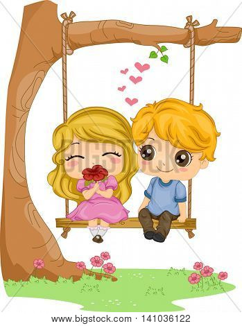 Romantic Illustration of a Kiddie Couple Sitting on a Couple Swing