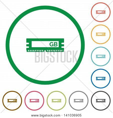 Set of RAM module color round outlined flat icons on white background