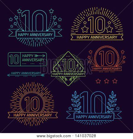 Anniversary 10th signs collection in outline style. Celebration labels with sunburst elements.