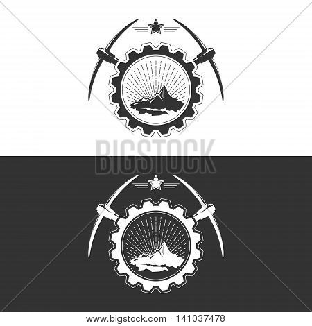 Sunburst and the Mountains with Pickaxe and Star in Gear on White and Gray Background , Mining Industry Logo Design Element, Vector Illustration