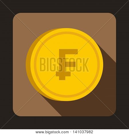 Coin franc icon in flat style with long shadow. Monetary currency symbol