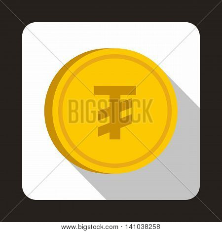 Coin Tugrik icon in flat style with long shadow. Monetary currency symbol