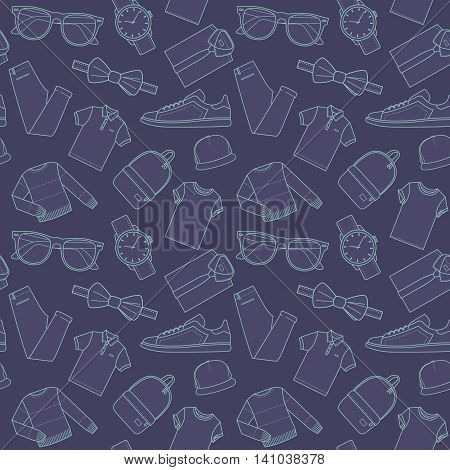Seamless patterns of male clothes shoes and accessories for online store in hipster style. Men's wear backgrounds for shops. Thin lines. Vector stock clipart.