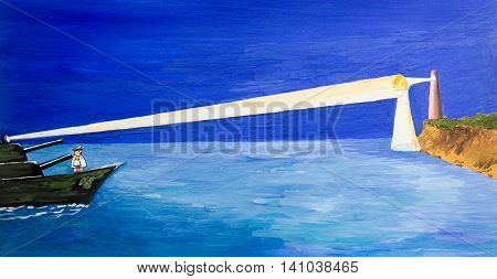 The spotlight warship wins the beam of a lighthouse. Cartoon