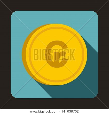 Coin Cruzeiro icon in flat style with long shadow. Monetary currency symbol