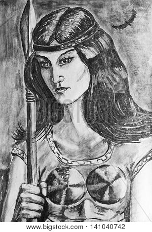 Charcoal drawing on paper. Portrait of a girl soldier with spear