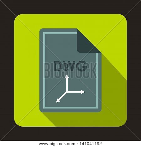 File DWG icon in flat style with long shadow. Document type symbol