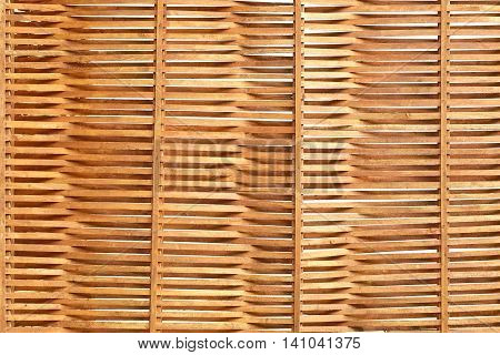 Wooden Wavy Sunblind Background Made From Thin Pine Planks