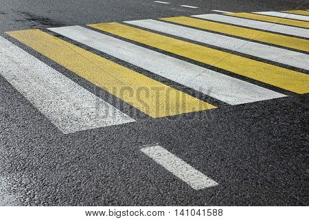 White Yellow Zebra Pedestrian Crossing