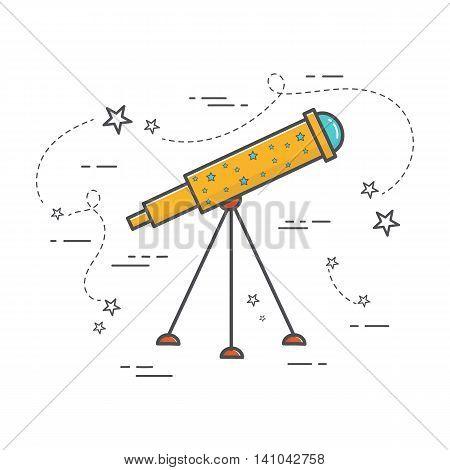 Vector illustration of telescope. Astronomy line art icon for web design. School subject poster