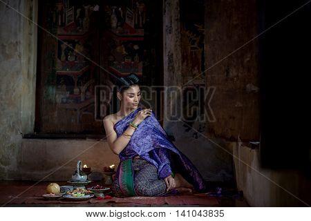 Beautiful Thai Girl In Thai Traditional Costume. Ayuttaya Style. ,identity Culture Of Thailand,thai