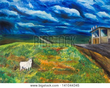 The oil painting. Goat in the pasture