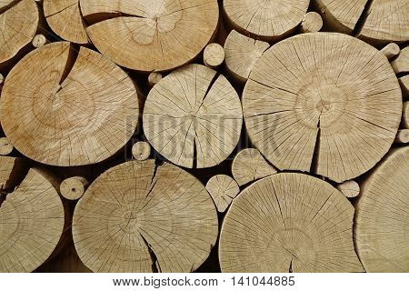 Wooden Home House Cabin Cottage Exterior Or Interior Design Wall Panel With Rounded Elements From Pine Tree Cross Section Large Cracked Dry Rings Horizontal Background Texture