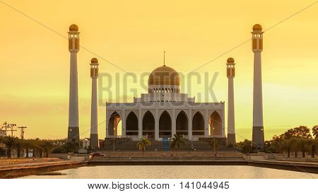 Sunset At Central Mosque, Songkhla, Thailand.
