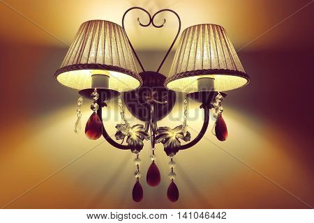 Indoor Interior Double Scone With  Hanging Crystal And Cozy Light