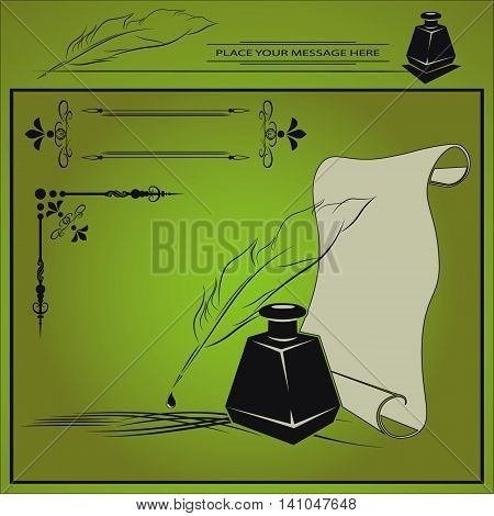 vector illustration with inkstand, pen, paper, and frame with area done in retro style on green background
