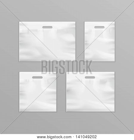 Vector Set of Different White Empty Reusable Plastic Shopping Bags with Handles for package design Close up Isolated on Background