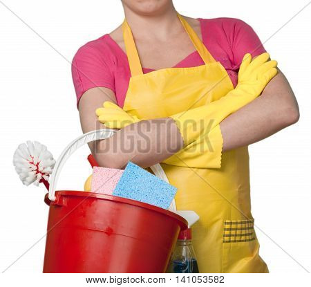 Woman in Apron with Bucket of Cleaning Supplies - Isolated