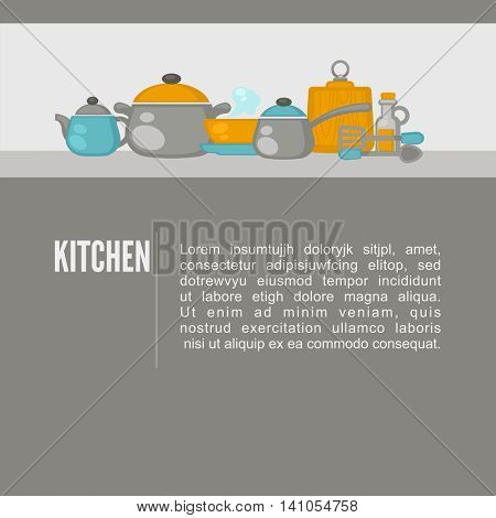 Kitchen equipment objects background. Flat design kitchen concept. Vector illustration.